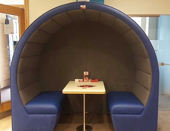Closed office seating pods