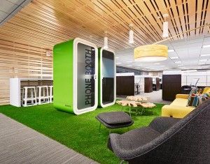 Green phone booth for modern office spaces